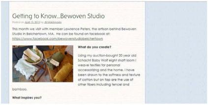 Artisans of WMass April 2015 blog post about Bewoven Studio