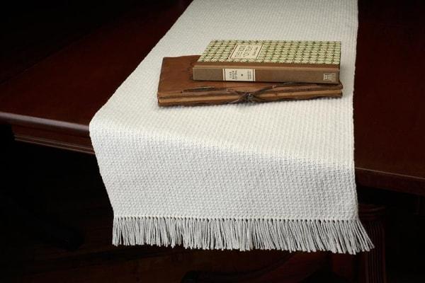 twill rib hand woven table runners bewoven studio